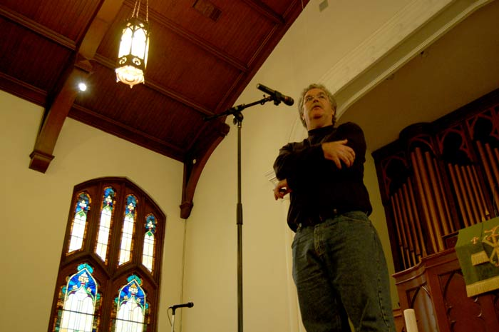 Terry Allebaugh, executive director and founder of Housing for New Hope, speaks to the crowd at Trinity Avenue Presbyterian Church on Saturday, Oct. 17.