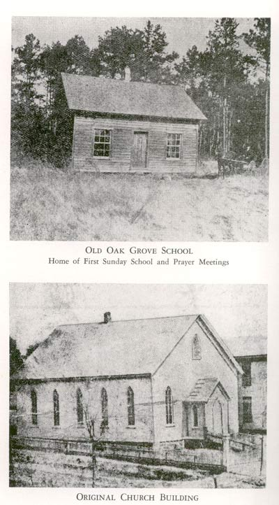 In the late 19th Century, Angier Avenue Baptist Church was housed in the old Oak Grove School (top) and then in a church built in 1889, (bottom).