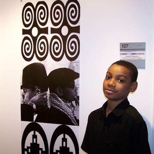 Student artist Muhammad Karim and his artwork.