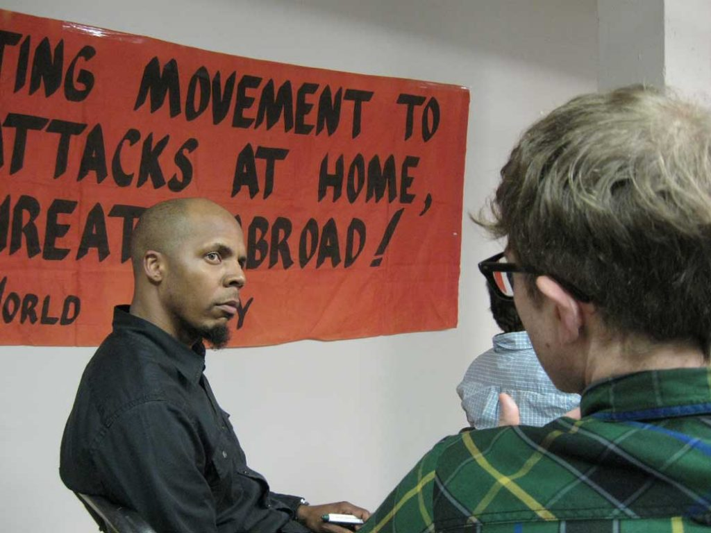 Attendees converse before a Durham Solidarity Center event. (Photo Credit: Cammie Bellamy)